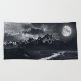 Moon Mountains and River Beach Towel