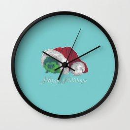 Happy Holiday Hedgehog by Chrissy Curtin Wall Clock