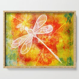 Dragonfly in embroidered beauty Serving Tray