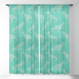 Floral T-Rex in Teal Sheer Curtain