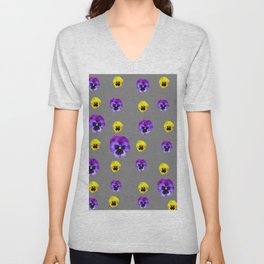 YELLOW & PURPLE PANSY FLOWERS ON CHARCOAL GREY Unisex V-Neck