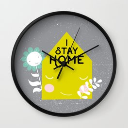 Stay home illustration Wall Clock