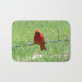 Red Summer Tanager on Barbed Wire Fence Bath Mat
