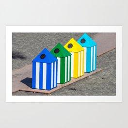 Beach rubbish bins Art Print