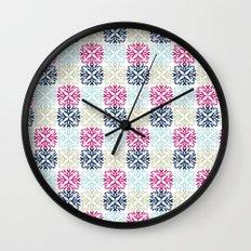 Floral Geometric - Navy & Pink Wall Clock
