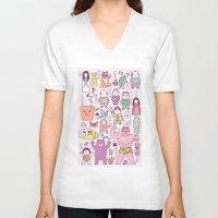 folk V-neck T-shirts featuring Mukashi-Banashi / Japanese Folk Tales by Kimiaki Yaegashi