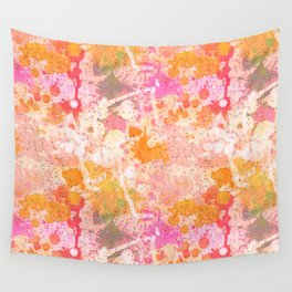 Abstract Paint Splatters Pink & Orange Wall Tapestry