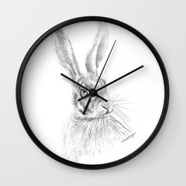 Hare artwork by Emily Hunter-Higgins Wall Clock