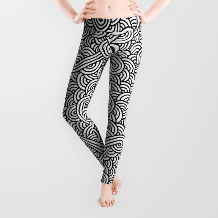 Black and white swirls doodles Leggings