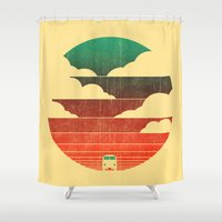 sunshine Shower Curtains featuring Go West by Picomodi