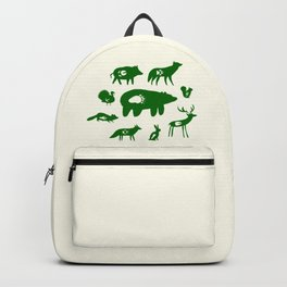 Nature Trail in Forest Green and Cream Backpack