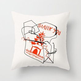 Chinese Food Takeout - Contour Line Drawing Throw Pillow