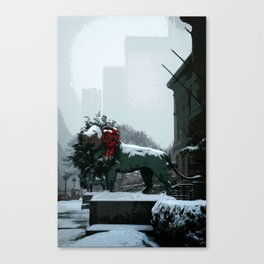 Chicago Art Institute Lions in Winter Canvas Print