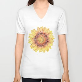 Swirly Sunflower Unisex V-Neck