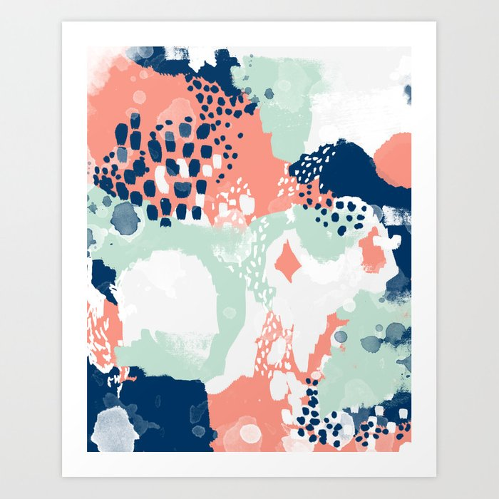 Bristol Acrylic Painting Abstract Navy Mint Coral Modern Color Palette Art Print By Charlottewinter