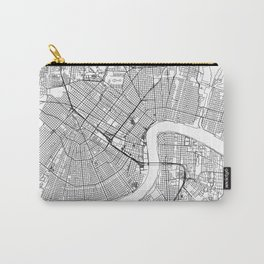 New Orleans City Map United States White and Black Carry-All Pouch