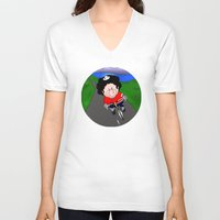 cycling V-neck T-shirts featuring Cycling pig by Afro Pig