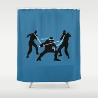 leonardo dicaprio Shower Curtains featuring Leonardo Leads by The Cracked Dispensary