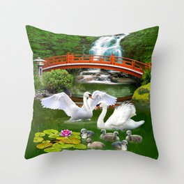 Swans and Baby Cygnets in an Oriental Landscape Throw Pillow