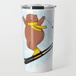 Bear skiing Travel Mug