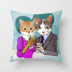 Kitty Cocktails Throw Pillow