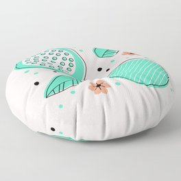 Summer Pomegranates in Mint and Blush Floor Pillow