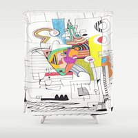 no face Shower Curtains featuring Face by Tanja K