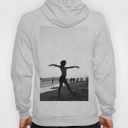 Vintage Surfer Girl   California Ocean Dancing on Huntington Beach Black and White Silhouette Hoody