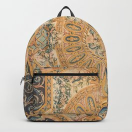 Louvre Fame Carpet // 16th Century Sunflower Yellow Blue Gold Colorful Ornate Accent Rug Pattern Backpack