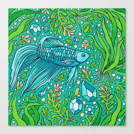 Betta Aquamarine | Magical Pet Fish Painting Canvas Print
