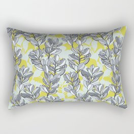 Leaf and Berry Sketch Pattern in Mustard and Ash Rectangular Pillow