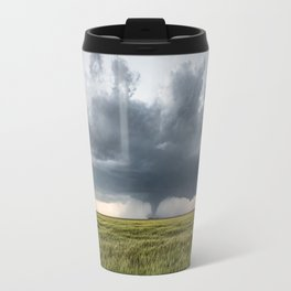 High Risk - Wide Angle View of Tornado in Kansas Travel Mug
