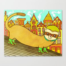Ferret on Rollerskates Canvas Print