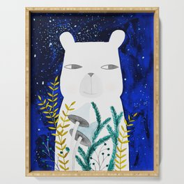polar bear with botanical illustration in blue Serving Tray