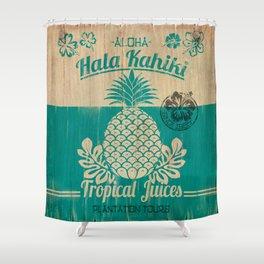 Hala Kahiki Juice Stand wooden board. Shower Curtain