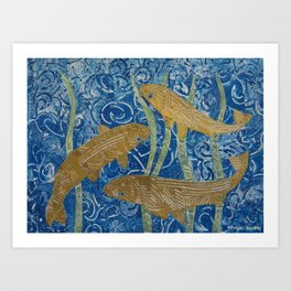 Gold Painted Paper Mosaic Fish Art Print