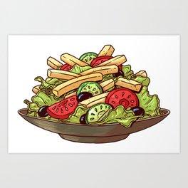 French Fry Salad Art Print