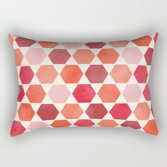 Red Tiles Rectangular Pillow