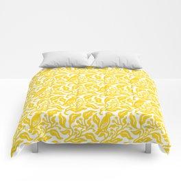 Bird and Berries Pattern Yellow Comforters