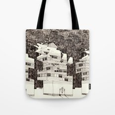 Deconstructed Buildings at Night Tote Bag