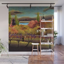 Classical Masterpiece 'Landscape with Farmer' by Henri Rousseau Wall Mural
