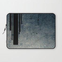 Geometric Grunge Blue - Gray Vertical Black Stripes Polka Dots Illustration Laptop Sleeve