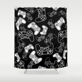 Video Games White on Black Shower Curtain