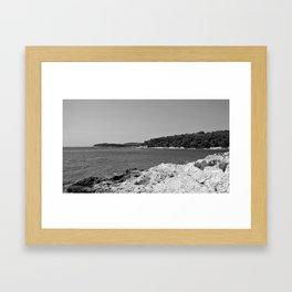coastline bay at summer pula croatia istria black white Framed Art Print