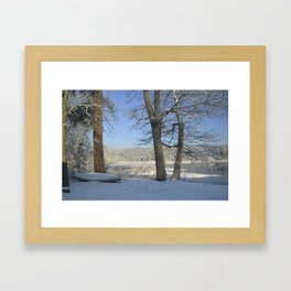 December Snow Delaware River View Framed Art Print