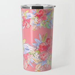 hawaiian flowers red pink Travel Mug