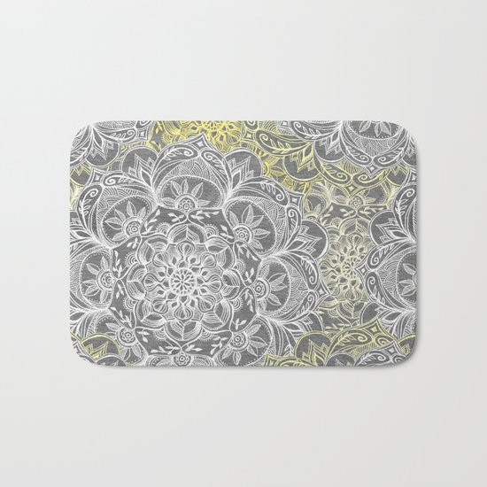 Yellow & White Mandalas on Grey Bath Mat