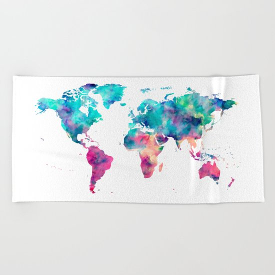 World Map Turquoise Pink Blue Green Beach Towel