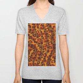 Orange brown yellow abstract safari animal print Unisex V-Neck