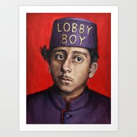 wes anderson Art Prints featuring Lobby Boy / Grand Budapest Hotel / Wes Anderson by Heather Buchanan